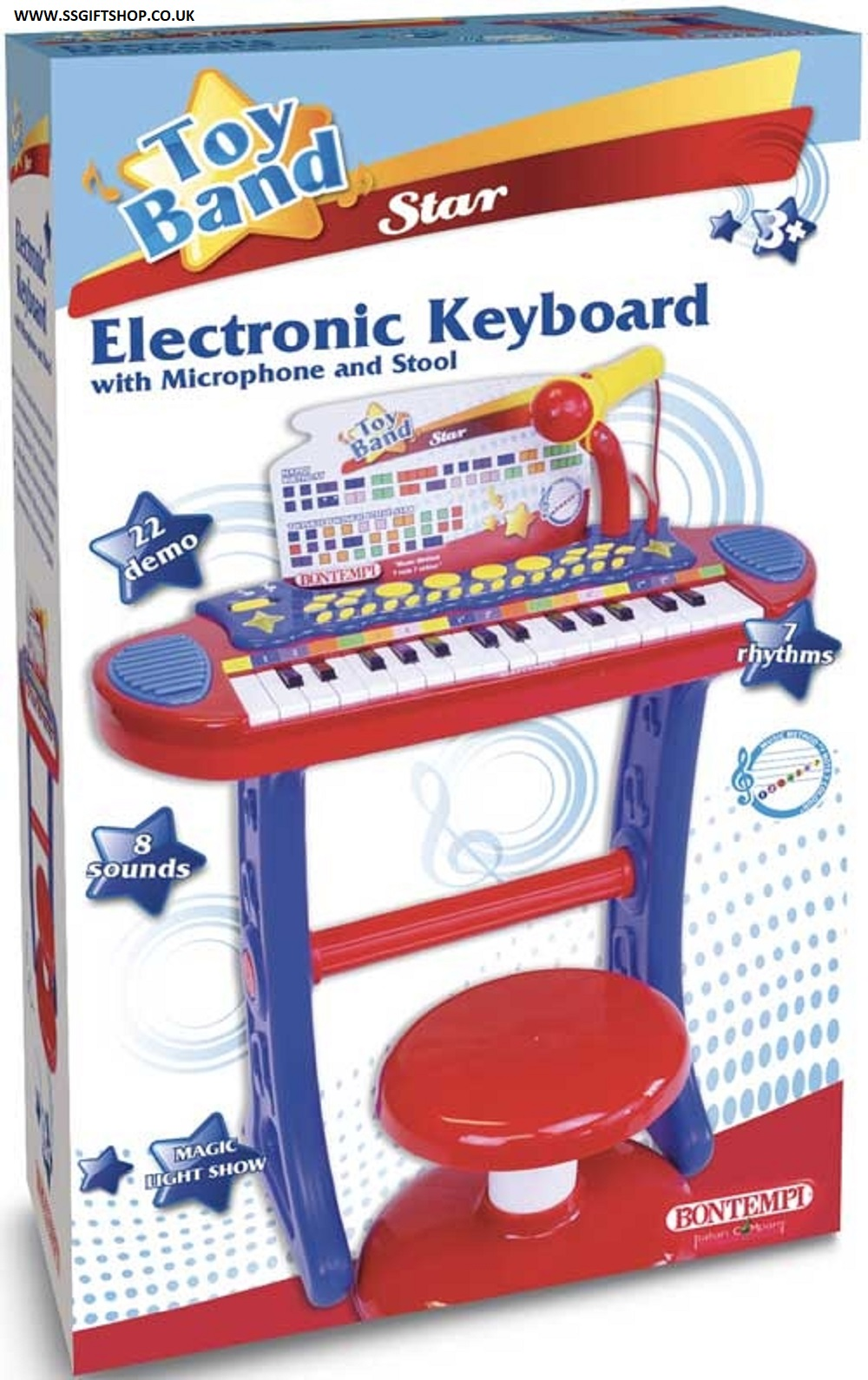 ELECTRONIC KEYBOARD WITH MICROPHONE AND STOOL.