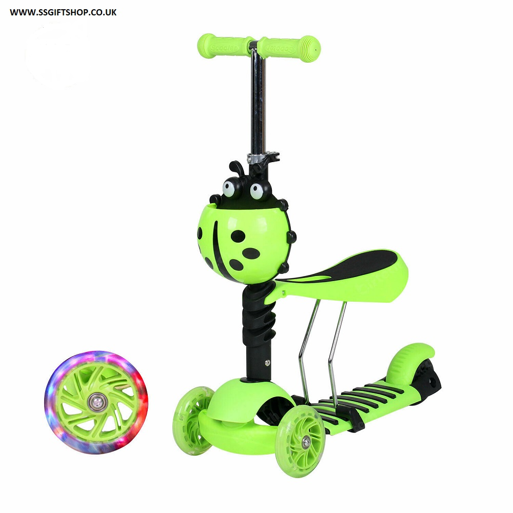 3 in 1 Kids Scooter 3 Wheel Toddler Kick Scooter Adjust Seat Lights Up. (GREEN)