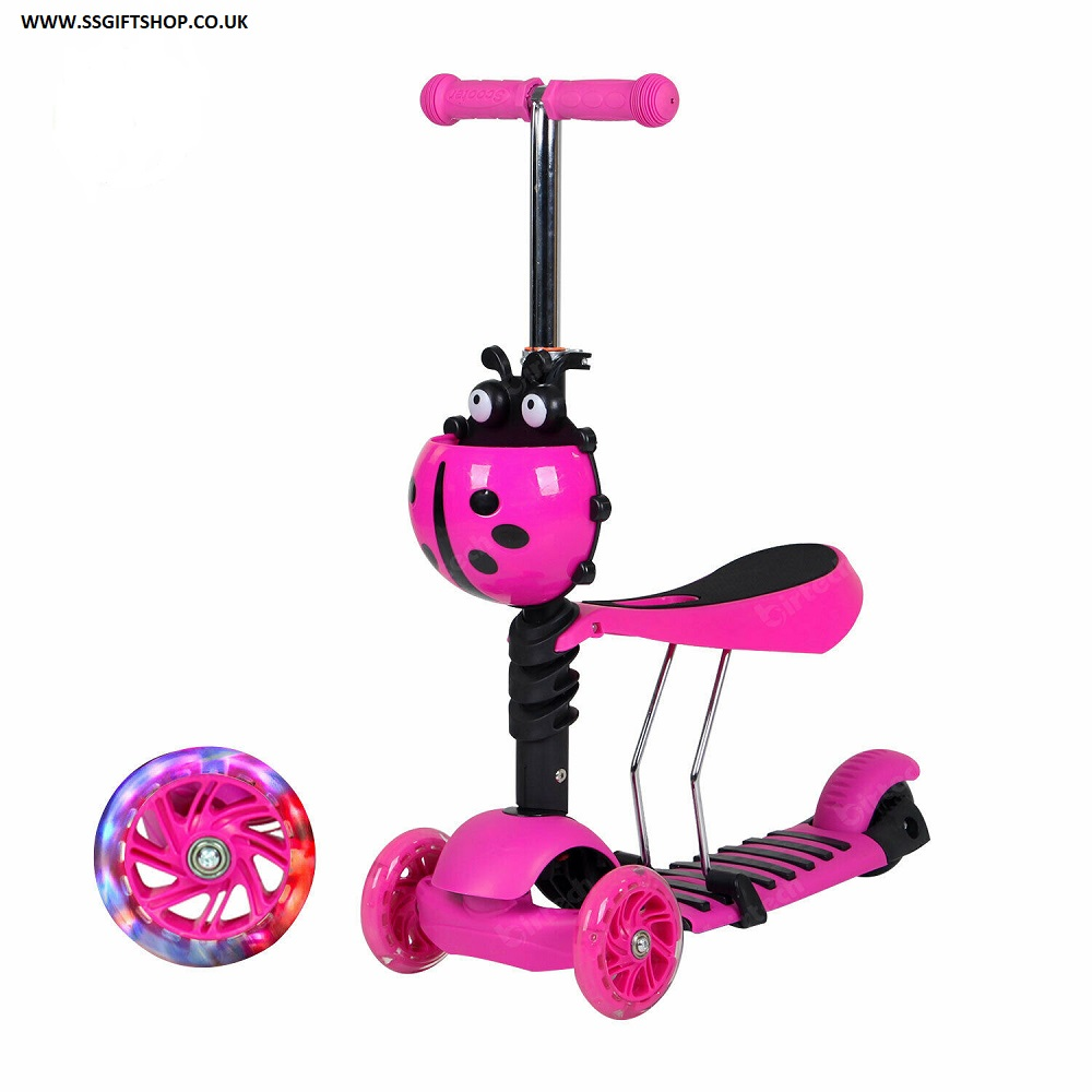 3 in 1 Kids Scooter 3 Wheel Toddler Kick Scooter Adjust Seat Lights Up. (PINK)