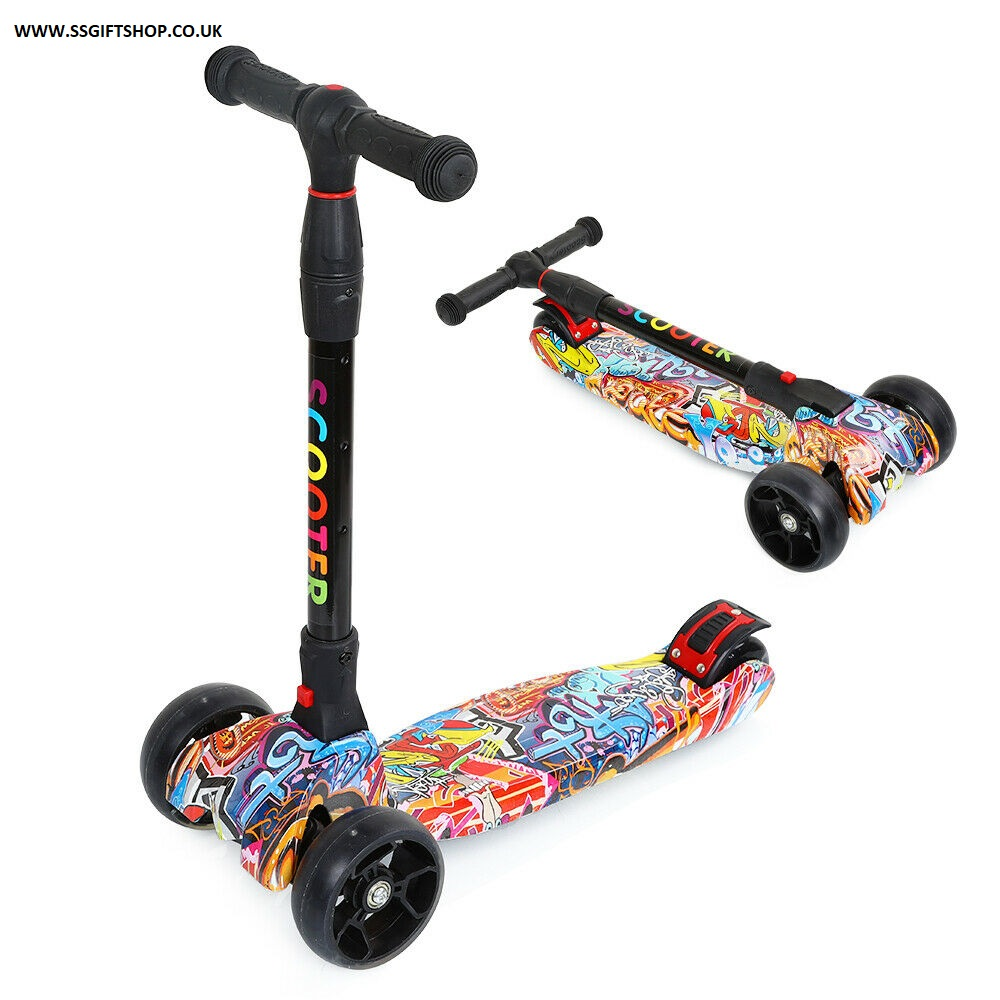 3 Wheel Adjustable Folding Bar Scooter for Boys & Girls Kick Lights Up.