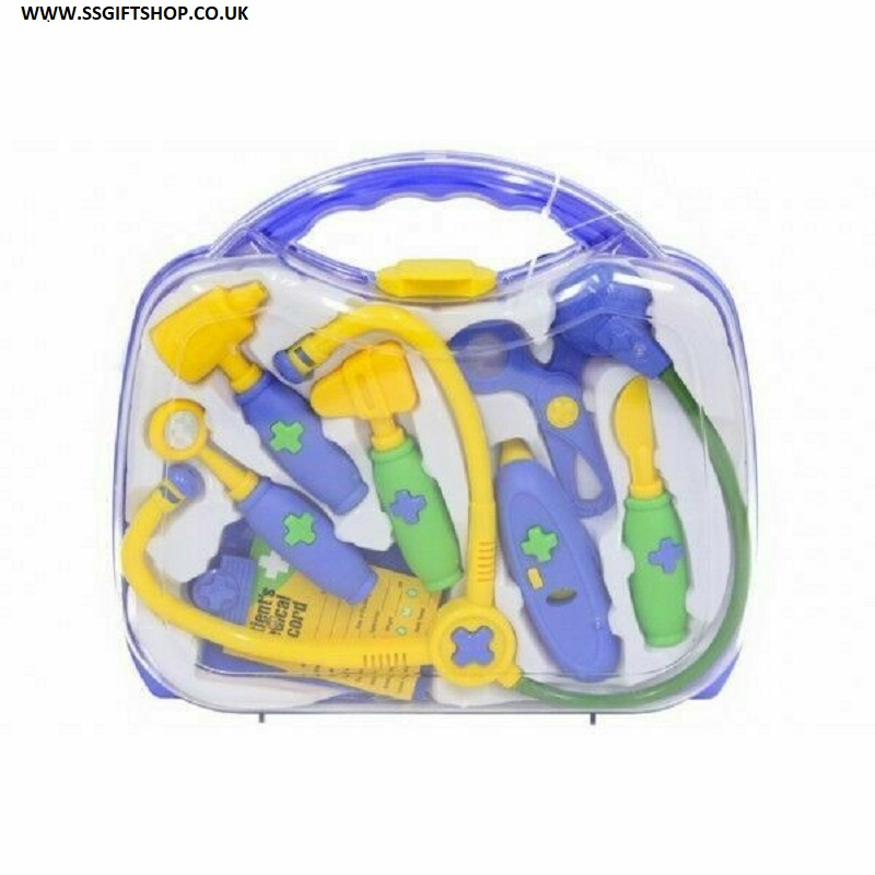 BOYS 9pc Dr Doctors Nurses Dress Up Role Play Toy Medical Carry Case.