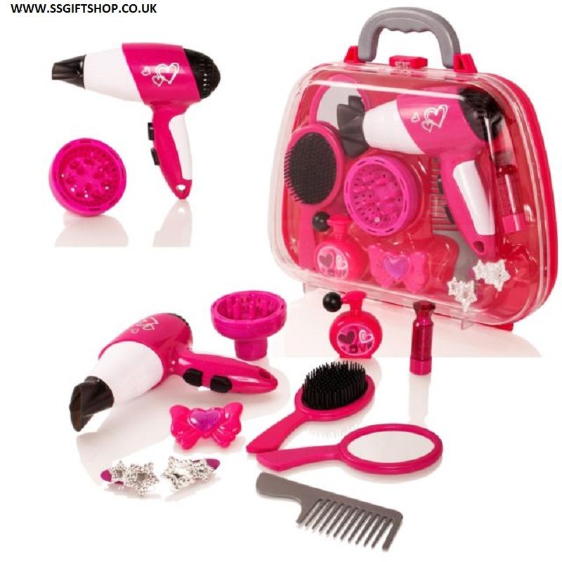 Girls Cosmetic Carry Case Hair Dryer Beauty Salon Play Set