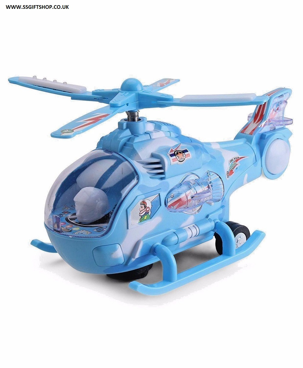 KIDS BOY 26cm Helicopter Long Flashing Lights & Music Battery Operated.